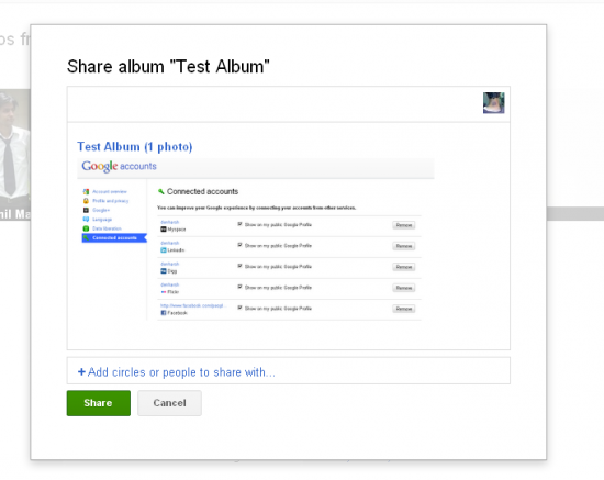 google+ share album 550x437 Google+ Social Networking Site: First Impression