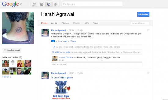 google+profile 550x329 Google+ Social Networking Site: First Impression
