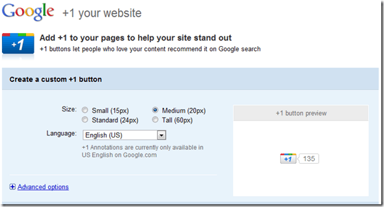 Google +1 Button For Websites Available now