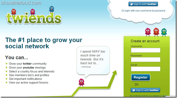 tweinds thumb Twiends : Twitter Follower Exchange Program to grow Twitter Followers