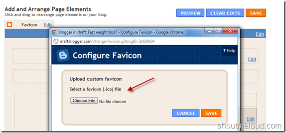uploadfavicon thumb How to Add Favicon to BlogSpot Blogs? [Easy Way]