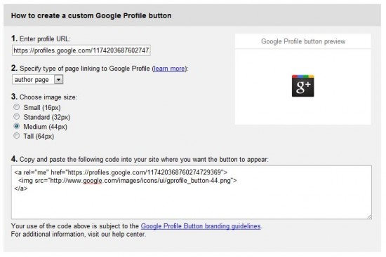 Google+ profile Button 550x367 How to Add Google Profile Button into your Blog