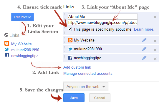 add profile link to google+ How To Display Author Profile Picture On Google Search Engine?