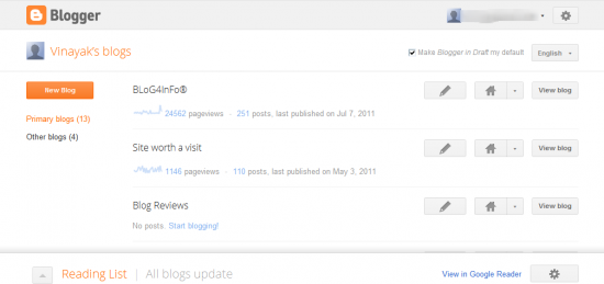 dashboard 550x259 Google Launches Bloggers New Design