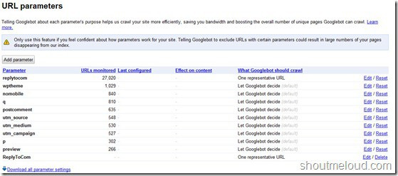 parameterhandling thumb How to use URL Parameters in Google Webmaster Tool