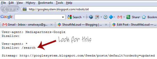 robots file 550x208 Robots.txt file on BlogSpot Blogs: Google SEO Mistake with BlogSpot Search Pages