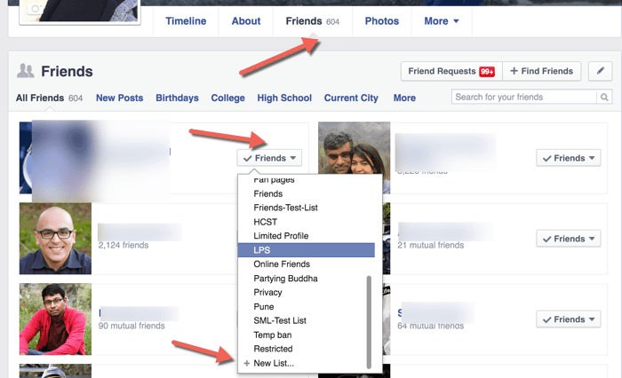 Facebook friend list feature