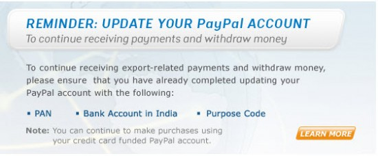 Paypal india 550x228 PayPal Added Auto Withdrawal to Bank Account For Indian Users [Updated]