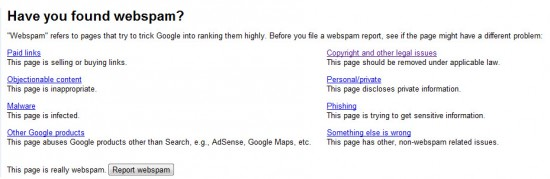 Webspam 550x179 Report Spam to Google Directly from Chrome Browser: Extension