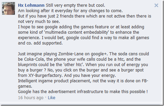 commentfacebook thumb Google+ Games are Available Now