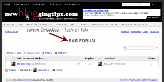 forum embed in demo blog 550x276 How To Add a Forum To Your Blogspot Blog?