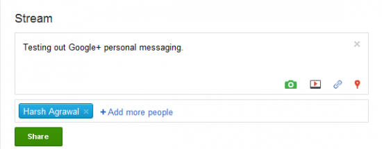 g+ personal messaging 550x215 How to Send Private Messages in Google Plus