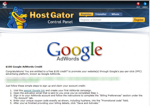 Adworfs credit 500x356 Hostgator India Offers Free Adwords Credit for Indian Clients: 4500 INR