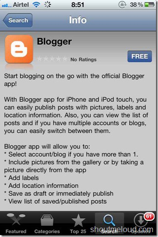 BlogSpot iPhone app