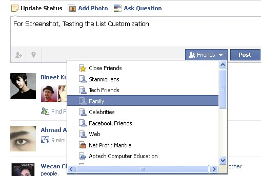 Detailed View of Post Check How to Customize and Use Facebook Friendlist