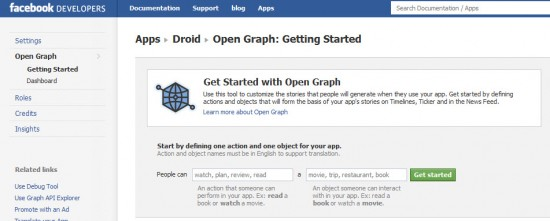 Get started Open Graph 550x221 How to Enable Facebook Timeline Profile Now