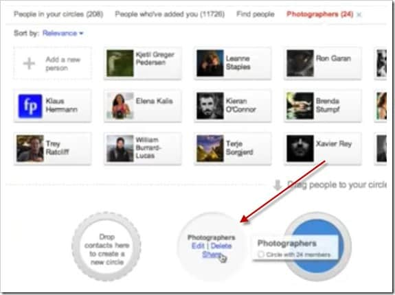 Google Plus now Let you Share Members in Your Circles