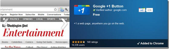 Google1buttonChromeExtension thumb Google+1 Button & Facebook Like Extension for Chrome [Official]