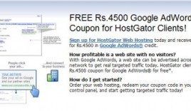 Hostgator India Offers Free Adwords Credit for Indian Clients: 4500 INR