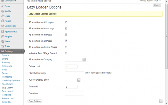 LazyLoader Settings 550x345 How to LazyLoad images to Improve Page Speed [WordPress]