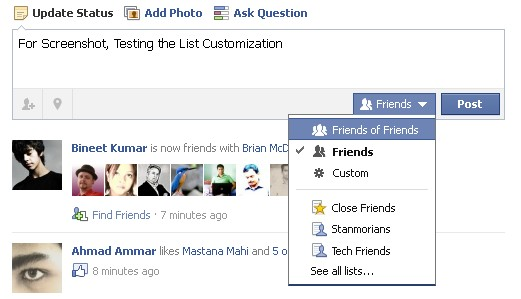 Status Checking How to Customize and Use Facebook Friendlist