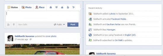 Status Update and Recent activity 550x191 How to Enable Facebook Timeline Profile Now