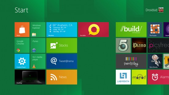 Windows 8 Start 550x309 Windows 8 Developer Preview: First Impressions, Whats New