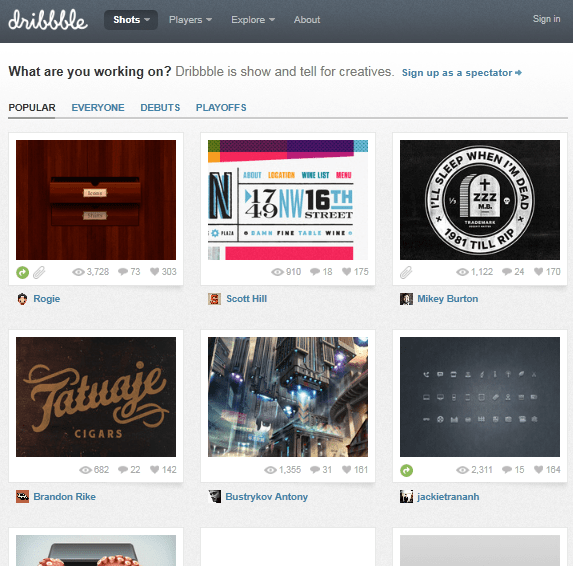 dribble Top 5 Community sites for Web Designers