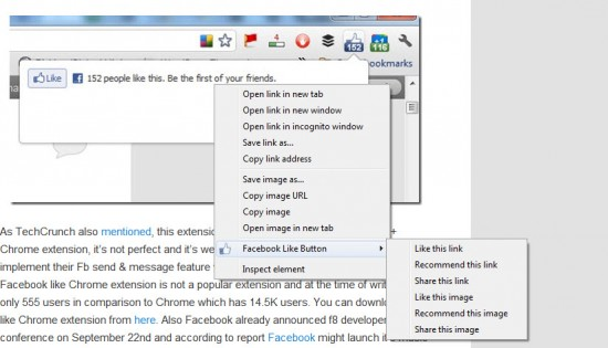 facebook context menu option 550x315 Google+1 Button & Facebook Like Extension for Chrome [Official]