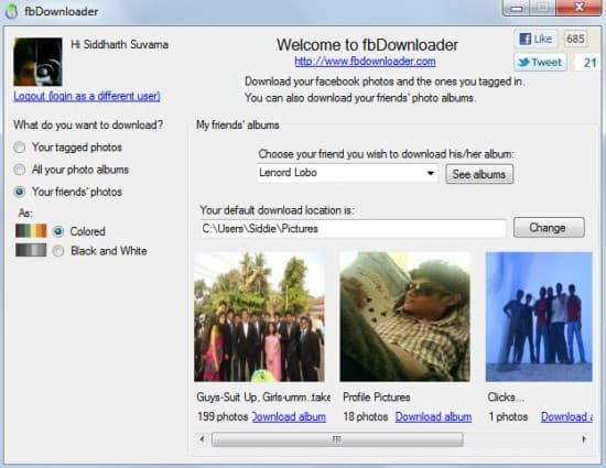 fbdownloader screenshot 550x425 How to Download Facebook Albums in One Click
