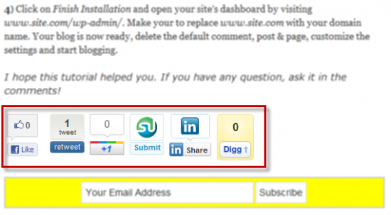 sharing buttons 550x303 How to Add Social media buttons With Share count in WordPress