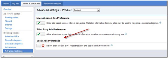 social ads preference thumb Google Adsense to Show Google Plus Button and How to Disable it?