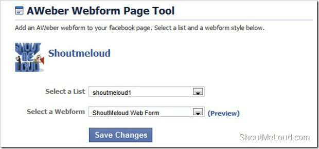 Aweber Facebook Final Step thumb How to Embed Aweber Subscription form Into Facebook Fan page