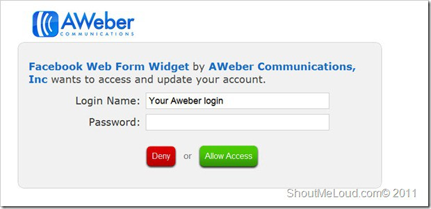 Aweber login thumb How to Embed Aweber Subscription form Into Facebook Fan page