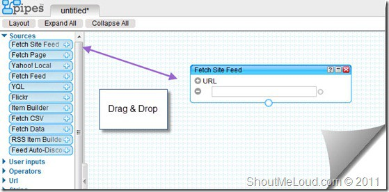 Dragdrop Yahooo Pipe thumb How to Combine Multiple Feeds using Yahoo Pipes