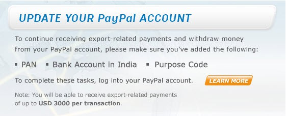 Paypal export payment PayPal Increased Receiving Limit to $3000 for Indians
