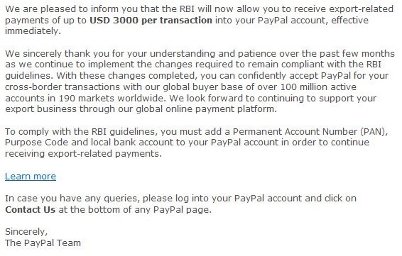Paypal transaction limit PayPal Increased Receiving Limit to $3000 for Indians