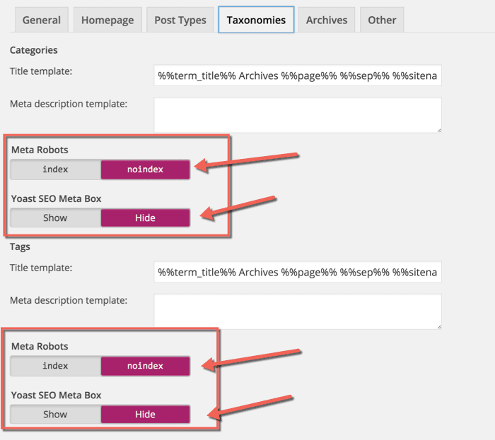 WordPress Duplicate content categories