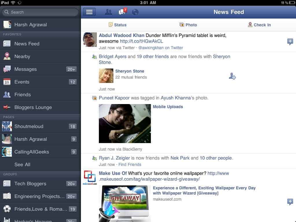 iPad Facebook Screenshot 2 Download Facebook for iPad: Video Review