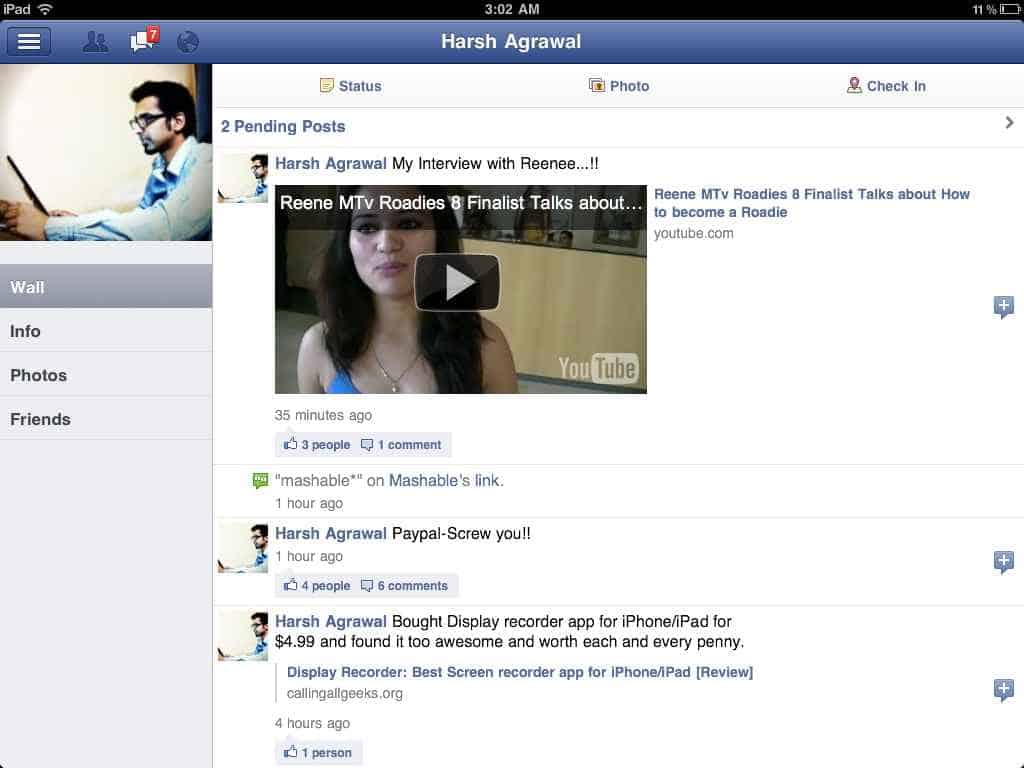iPad Facebook Screenshot 4 Download Facebook for iPad: Video Review
