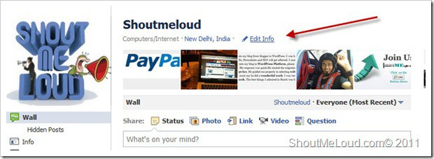 shoutmeloud fb edit info thumb How to Embed Aweber Subscription form Into Facebook Fan page