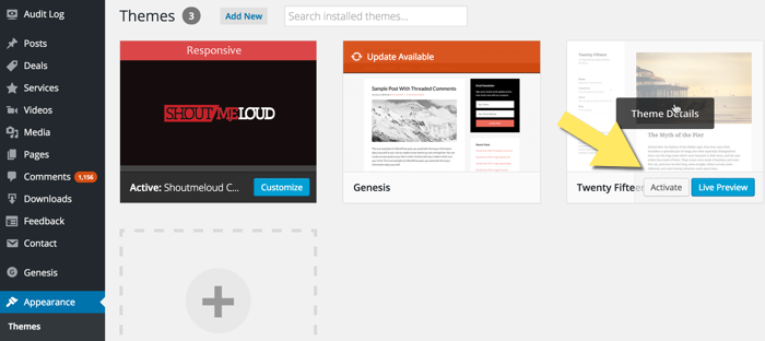 Activate new WordPress theme