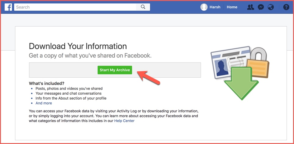 Download Facebook data