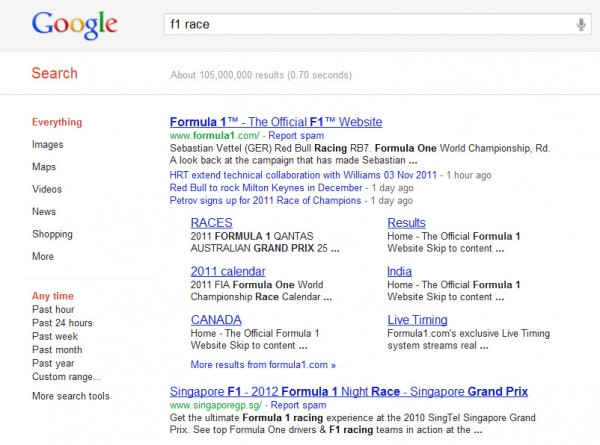 F1 search result 600x445 Google Recent Search Result Obsession will Impact 35% of Searches