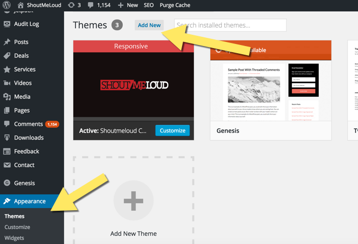 Install New WordPress theme