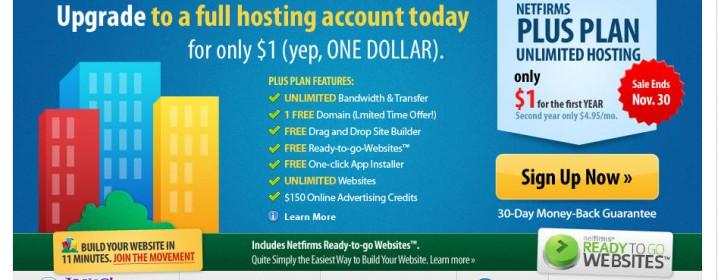 Netfirms Black Friday Sale Coupon- $1 Web Hosting