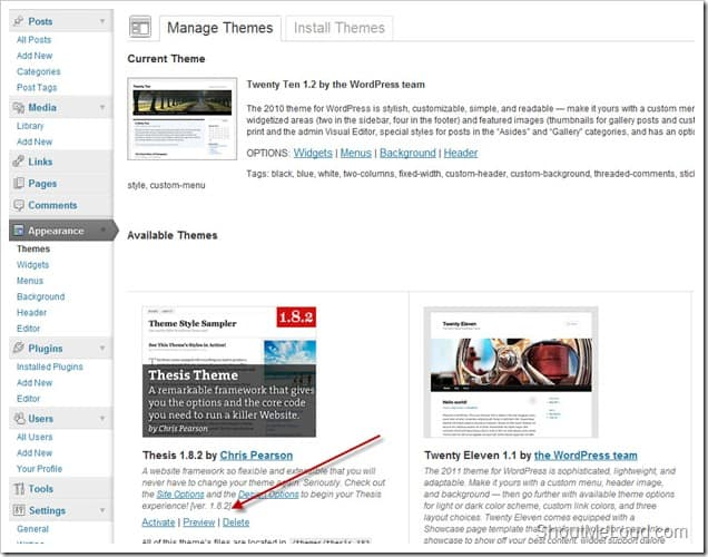 manage WordPress Theme thumb