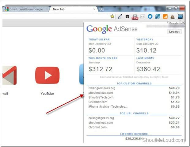 Adsense publisher toolbar addon