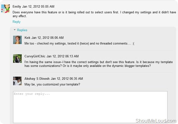 Blogger threaded comment