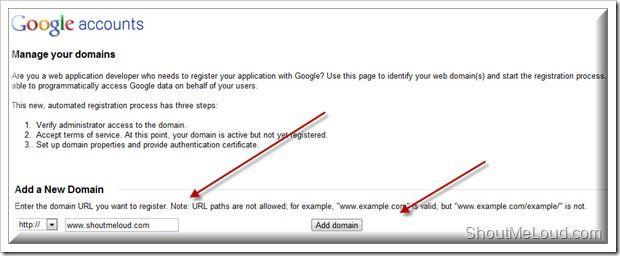 Google Manage domain